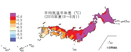 ↑ 平均気温平年差・2010年夏