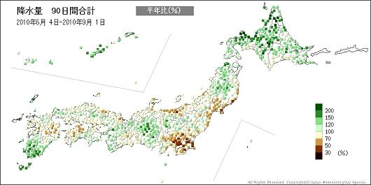 ↑ 上から降水量の10日間平均、30日間平均、60日間平均、90日間平均(2010年9月1日において)