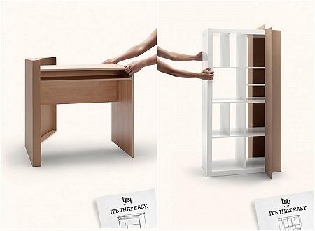 ↑ まるで手品のように、パーツが収められている段ボール箱から「完成品の」家具を取り出してくる