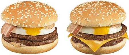 ↑ 「たまごダブルマック」(左)と「チーズたまごダブルマック」(右)