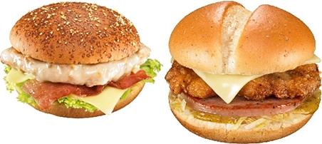 ↑ アイコンチキン チーズフォンデュ(左)とアイコンチキン ジャーマンソーセージ(右)