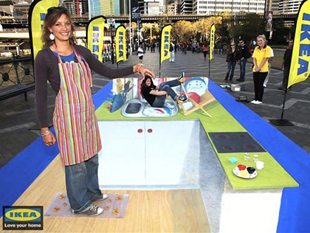 ↑ IKEA creates 3D chalk art, Sydney。