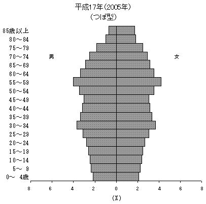 ↑ 国勢調査直近データ2005年における日本の人口ピラミッド(資料から抜粋)