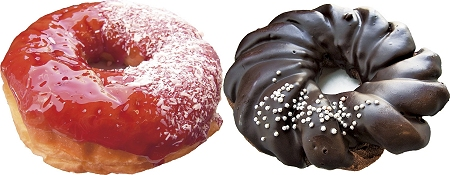 ↑ 「とっておき ストロベリーリング」(左)と「とっておき ショコラケーキドーナツ」(右)