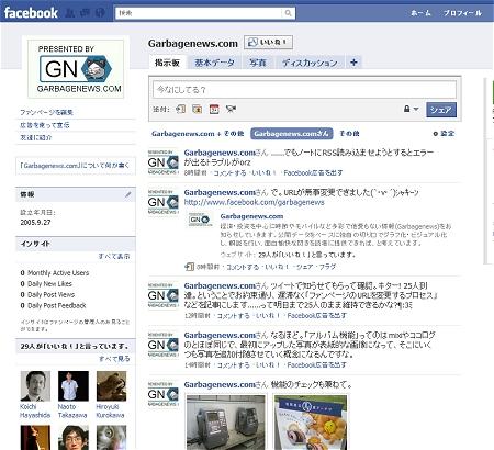 ↑ Facebook上に設置した、現在のGarbagenews.comのファンページ。アイコンはスタイリッシュなものに変更