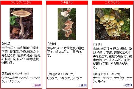 ↑ 厚生労働省発表の「食用と間違えやすい毒キノコの例」