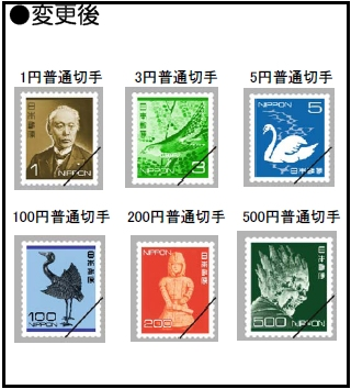 ↑ 対象となる切手の変更前と変更後