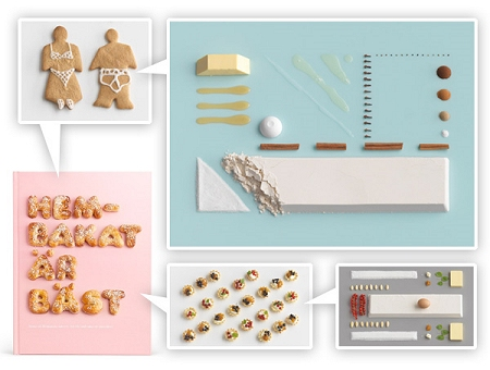 ↑ 各料理の「材料全面展開図」と「完成図」のみ。まるでIKEAの家具のようでもあり