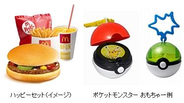 ↑ ハッピーセットとポケットモンスター・おもちゃの一例