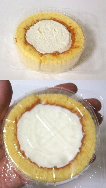 「プレミアムレアチーズロールケーキ」を上と下から眺めてみる
