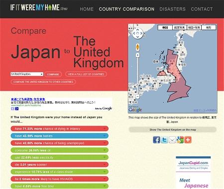 ↑ 日本とイギリスを比較してみる。イギリスの面積がさほど大きくないのが分かる
