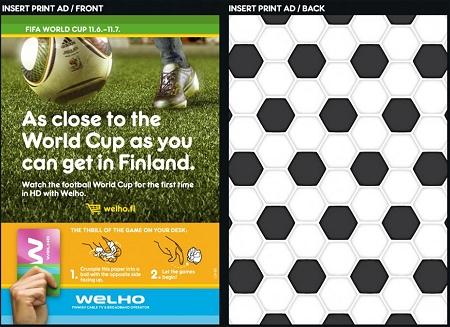 ↑ 表面はごく普通の宣伝面。裏面はサッカーボールの模様。サッカーをイメージしたものだとは分かるのだが……