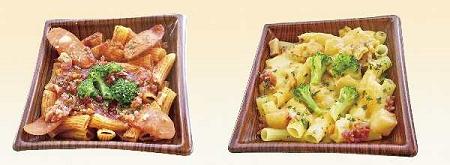 ↑ 「ショート生パスタアラビアータ」(左)と「ショート生パスタチーズクリーム」(右)