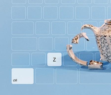 ↑ ティーカップ部分を拡大。ワイヤーフレームで描かれたキーボードが確認できる。そして実体化している2つのキーは……