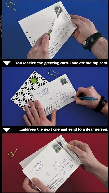 ↑ 自分の分を切り取って、下にある無地の葉書に、自分がカードを贈りたい相手の住所や名前、メッセージを添える。そしてヒモでくくって投函。