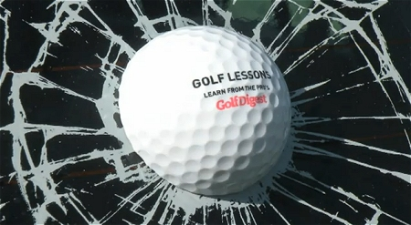 ↑ ゴルフ大会に訪れた自動車に、「ゴルフボール命中」と思わせるような広告ラベルをぺたり。