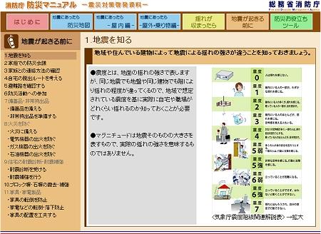↑ 「地震が起きる前に」。左側が大項目内メニューとなっている。