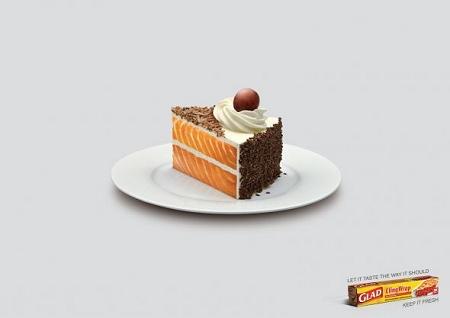 ↑ サーモンの香りがついたショートケーキ