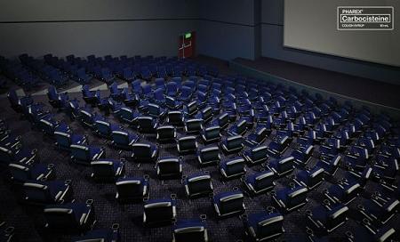 ↑ 一見普通の映画館のように見えるが、席の並びが……