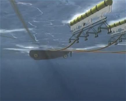 ↑ ラムフォーム(Ramform)・Wクラスではないが、PGS社によるストリーマー・ケーブルを曳航しての海底探査の方法。