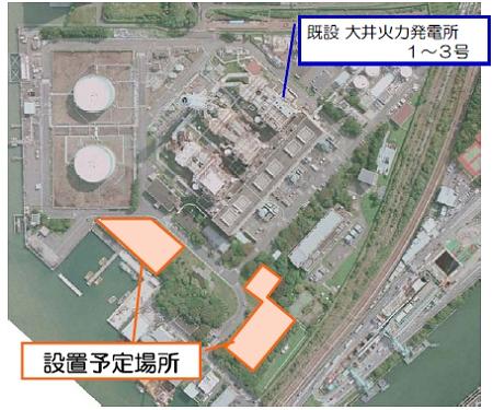 ↑ 大井火力発電所と設置予定場所