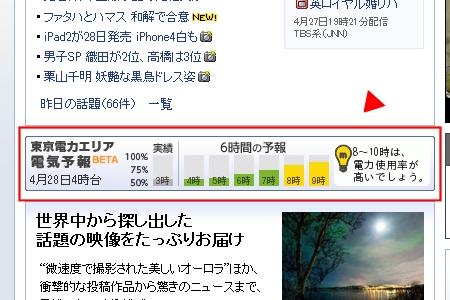 ↑ ヤフートップページ中央部に配される簡易版「電気予報」