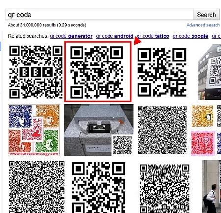 ↑ 「QR Code」の検索結果。Justinsomnia.orgのURLを意味するQRコードが第二位に収まっている