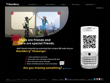 ↑ インドでのブラックベリーのサイト。サイトオーナーいわく「インドのブラックベリーのサイトでも有名になったヨ(I'm famous! (on the homepage of BlackBerry India))」