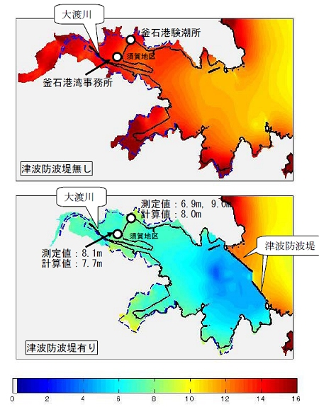↑ 最大遡上高・津波高の計算結果(上空から見た面)