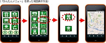 ↑ 「かんたんメニュー」でのアプリ使用例