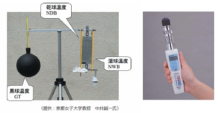 ↑ WBGT測定装置(左が基本形、右がハンディタイプ)(熱中症環境保健マニュアルから)