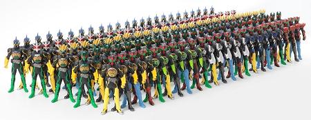 ↑ オーダーメイドバンダイ 第1弾 「オーズソフビ工場」。オーダー可能な全119種類の大集合