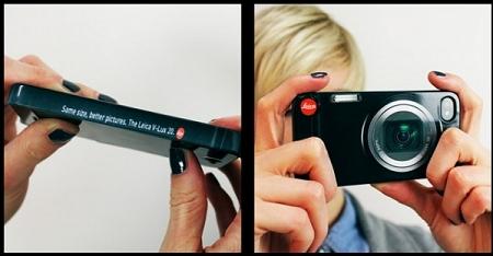 ↑ カバーをつけるとまるで「Leica V-Lux 20」のようなスタイルで、iPhoneのデジカメ機能を使える。そして側面には……