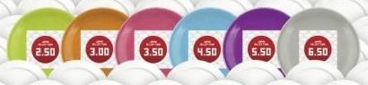 ↑ 寄付用のカラー皿は色によって寄付額が異なる