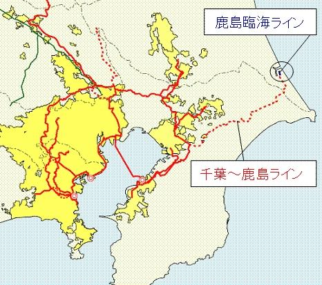 ↑ 東京ガスの高圧ガスパイプライン「千葉-鹿島ライン」と、鹿島火力発電所へのガス供給のために延長増設される「鹿島臨海ライン」