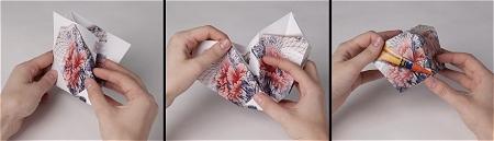 ↑ 指示に従って折り込んでいくと、破片が消えて元のキレイな花瓶が完成する。