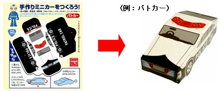 ↑ 紙製の手作りミニカー