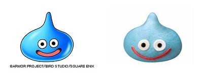 ↑ ゲーム内に登場する「スライム」(左)と今回発売が決まった「スライム肉まん」のイメージ(右)