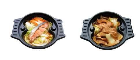 ↑ シリーズ4種類「寄せ鍋」「担々鍋」「鮭のちゃんちゃん」「豚のうま辛焼」