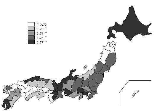 ↑ 都道府県別の高齢者福祉指数(総合スコア)結果
