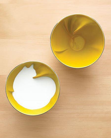 ↑ 空の状態(右)と牛乳を注いだ状態(左)