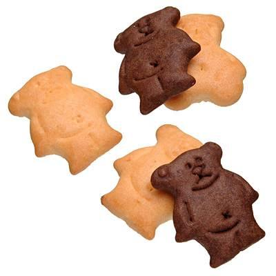 ↑ 国産小麦を使ったお菓子 ココアとプレーンのくまビスケット。