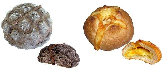 ↑ 「とろける板チョコメロンパン」(左)と「とろけるチーズクリームフランス」(右)