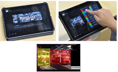 ↑ 携帯端末を操作して、展示車両の解説を見たり、ガイドが体験できる