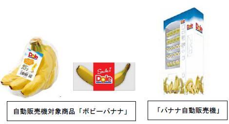 ↑ 販売される「ボビーバナナ」と、自販機本体