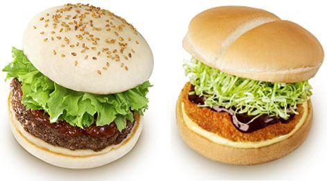 ↑ 『松阪牛ハンバーグステーキバーガー』(左)と『近江牛 メンチカツバーガー』(右)