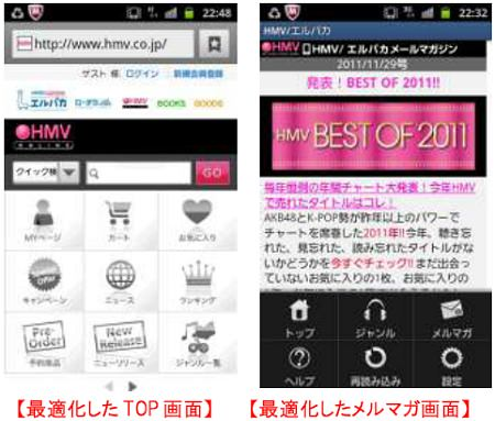 ↑ スマートフォンでのアクセス画面とメルマガ
