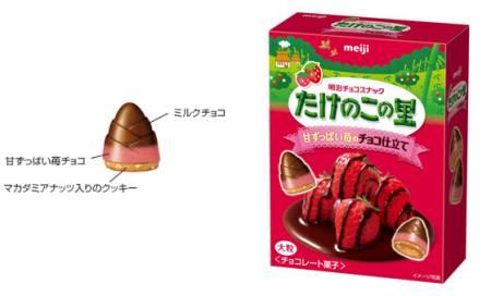 ↑ たけのこの里 甘ずっぱい苺のチョコ仕立て
