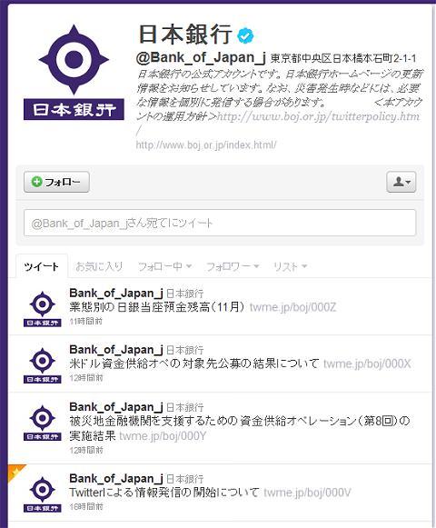 ↑ 日本銀行ツイッターアカウント