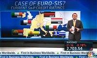 ユーロ圏の格下げを伝えるニュース